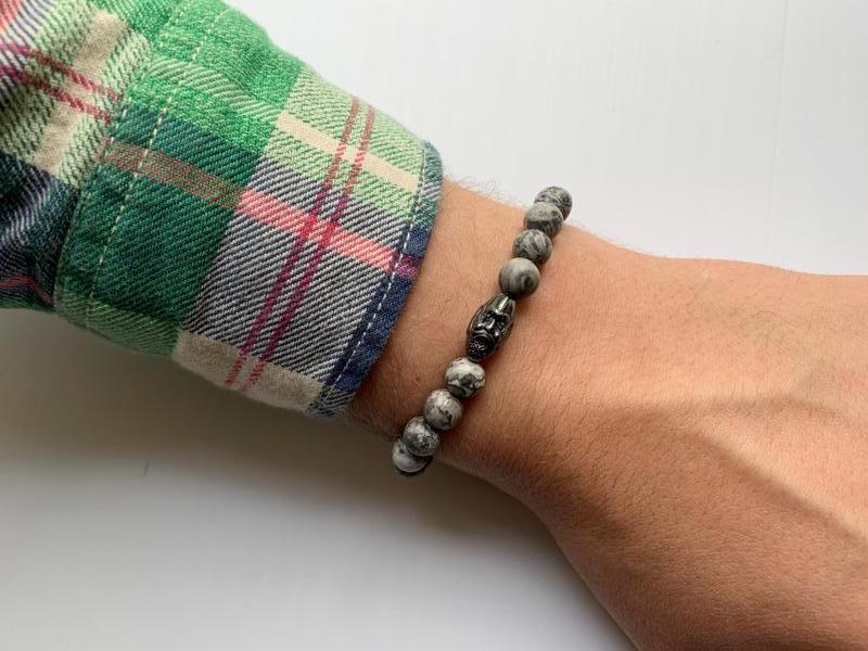 Мужской браслет из натурального камня яшма