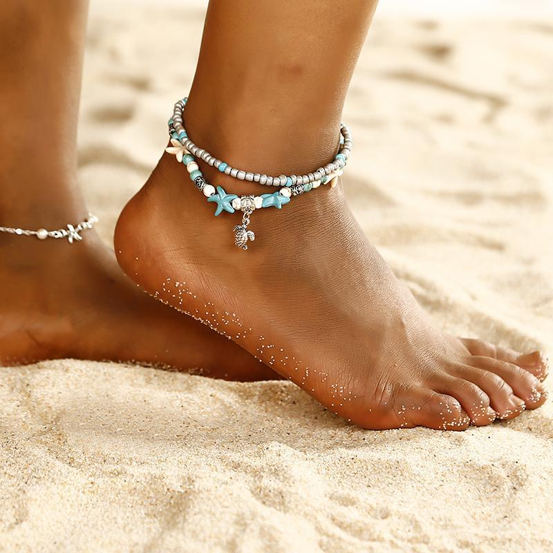 Двойной браслет на ногу из бусин