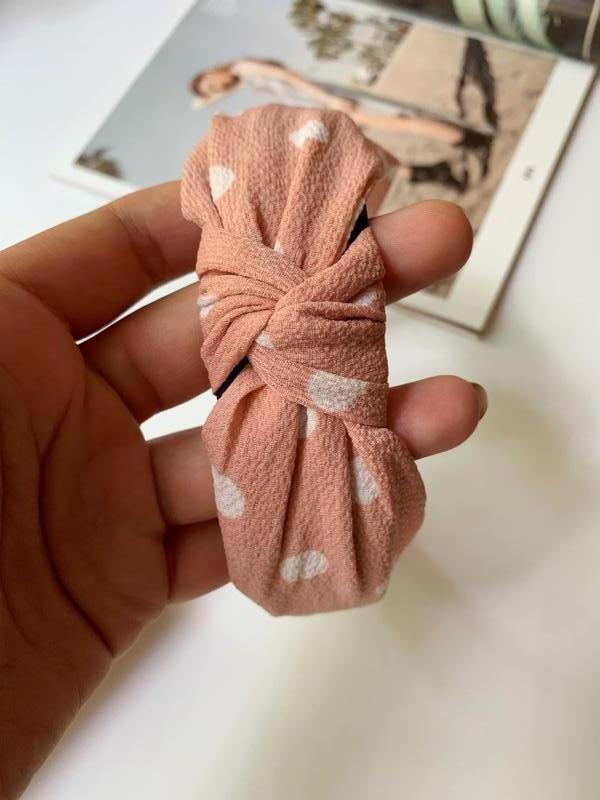 Красивый тканевый обруч в горошек, ободок для волос - Фото 2