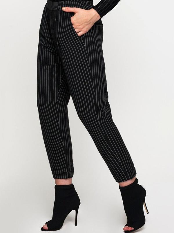 Брюки, джинсы в полоску бойфренды, завышенная талия, укороченные