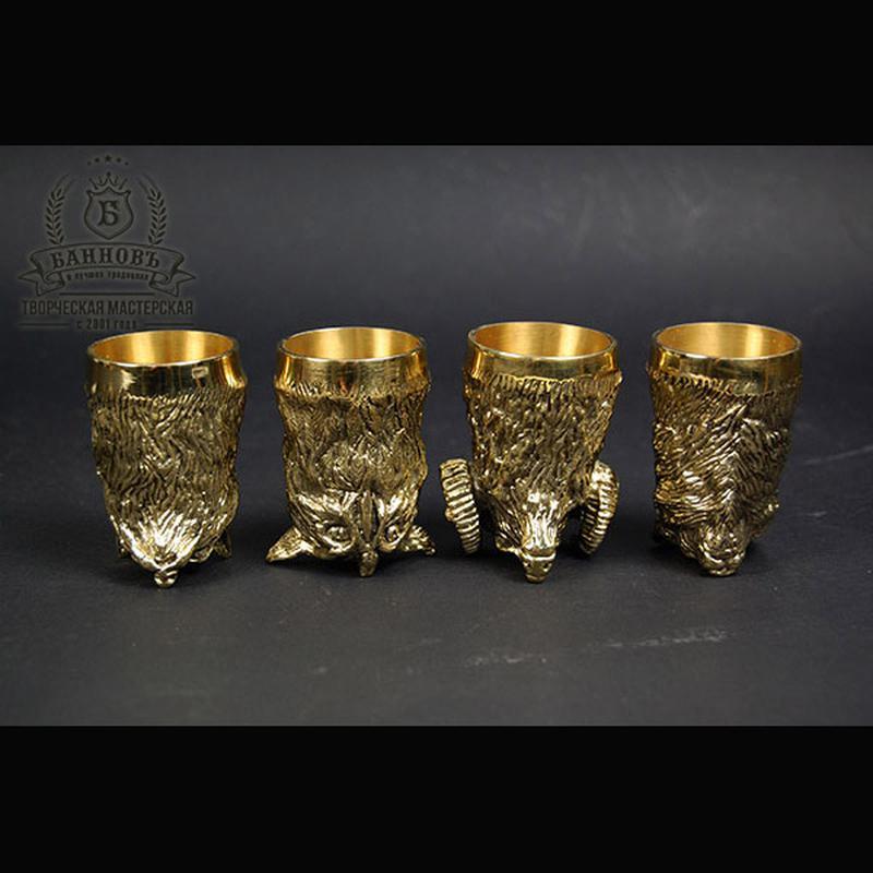 """""""Охотничьи"""" набор 4 бронзовые чарки с флягой - Фото 2"""