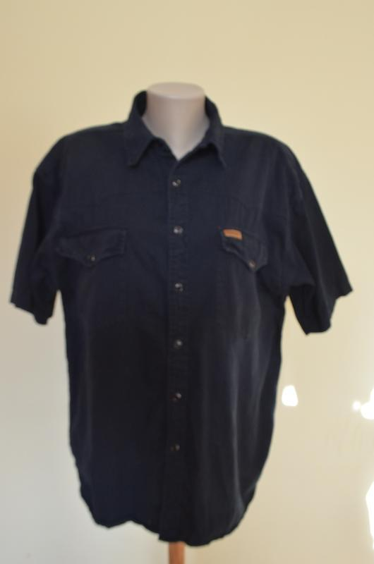Шикарная рубашка из хлопка черная короткий рукав saratoga