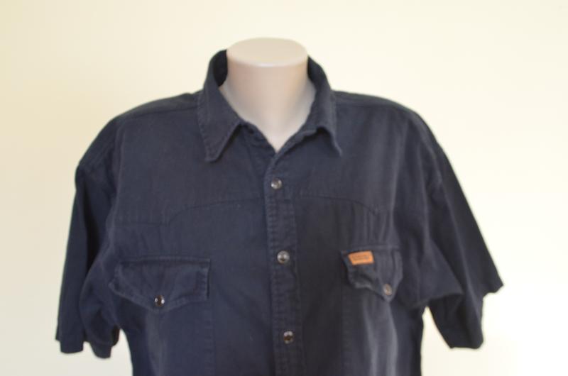 Шикарная рубашка из хлопка черная короткий рукав saratoga - Фото 2