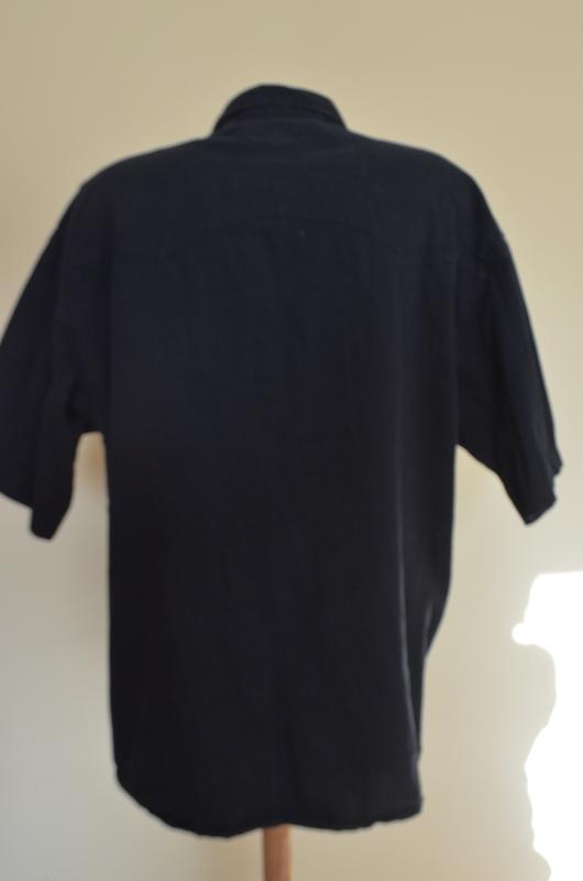 Шикарная рубашка из хлопка черная короткий рукав saratoga - Фото 3