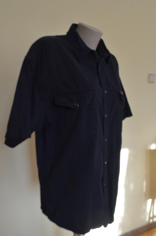Шикарная рубашка из хлопка черная короткий рукав saratoga - Фото 4