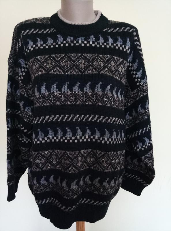Теплый мужской свитер шерсть