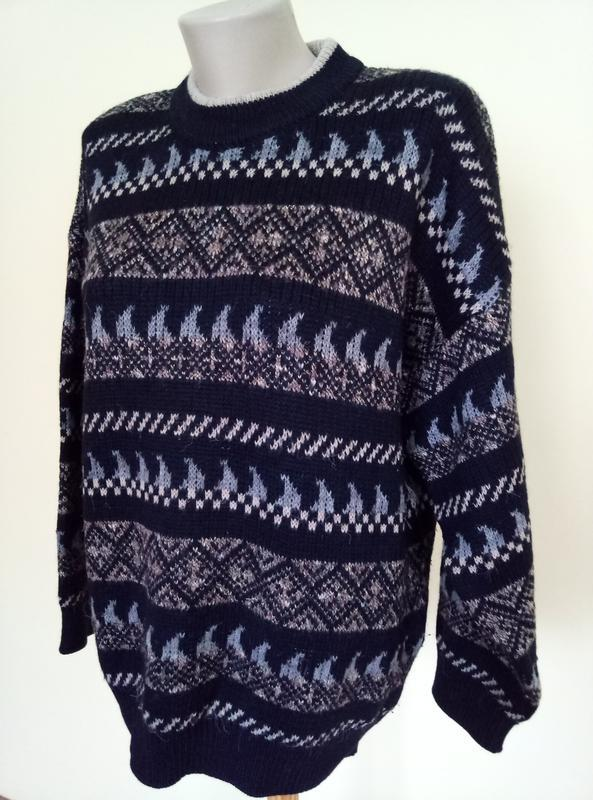 Теплый мужской свитер шерсть - Фото 2