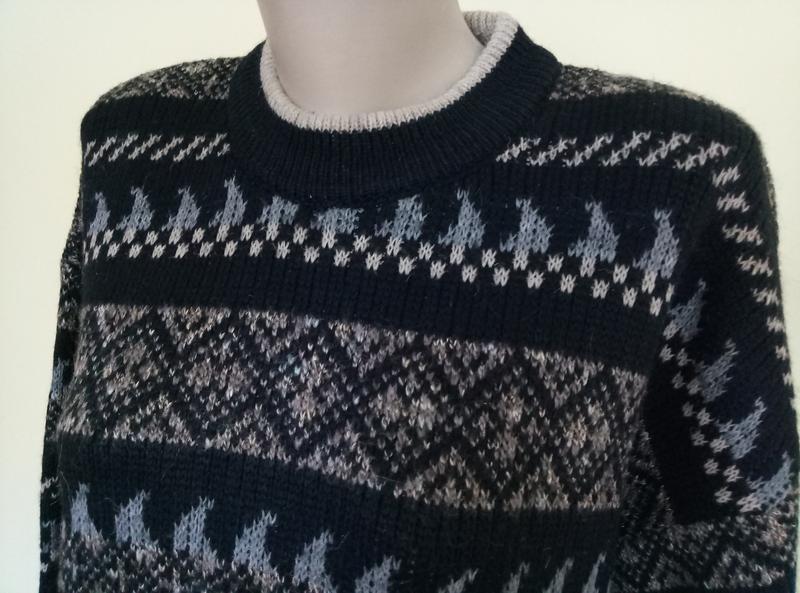 Теплый мужской свитер шерсть - Фото 3