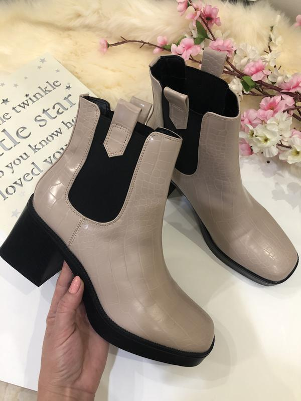 Удобные женские ботинки на толстом каблуке, сапоги осенние, - Фото 2