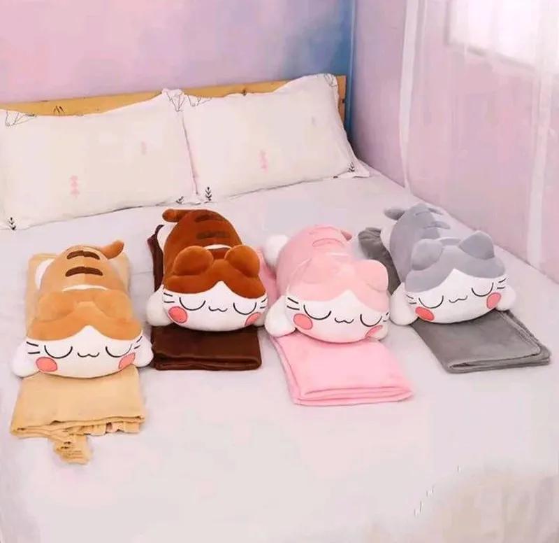 Детский плед подушка игрушка Кошка
