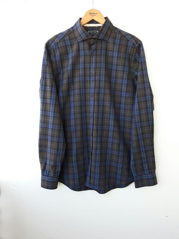 Стильная рубашка в клетку m - Фото 2