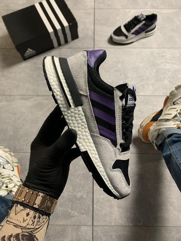 Adidas zx 500 violet gray. - Фото 5