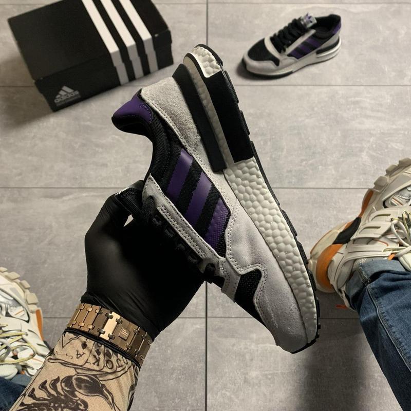 Adidas zx 500 violet gray. - Фото 8