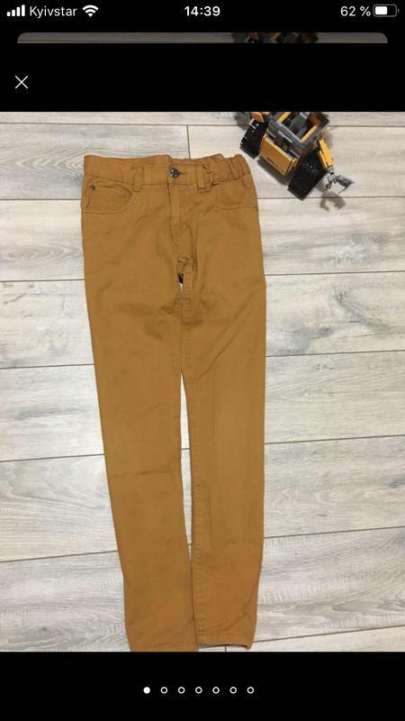 Стильные горчичные брюки штаны чино для мальчика подростка кот... - Фото 2