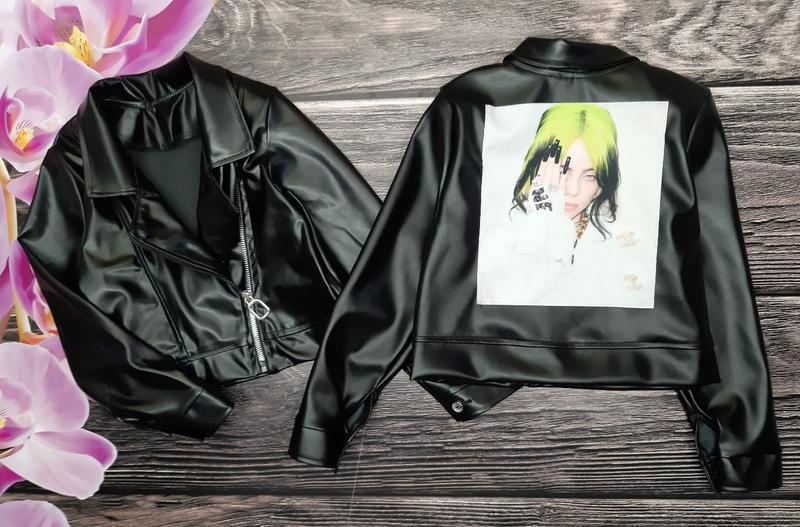 Куртка косуха для девочки с нашивкой billie eilish, билли айлиш