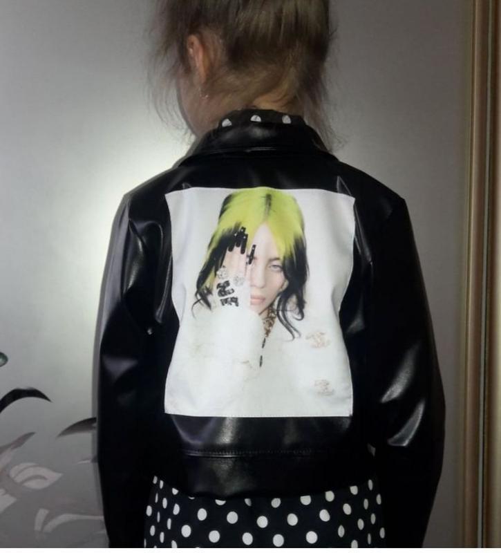 Куртка косуха для девочки с нашивкой billie eilish, билли айлиш - Фото 5