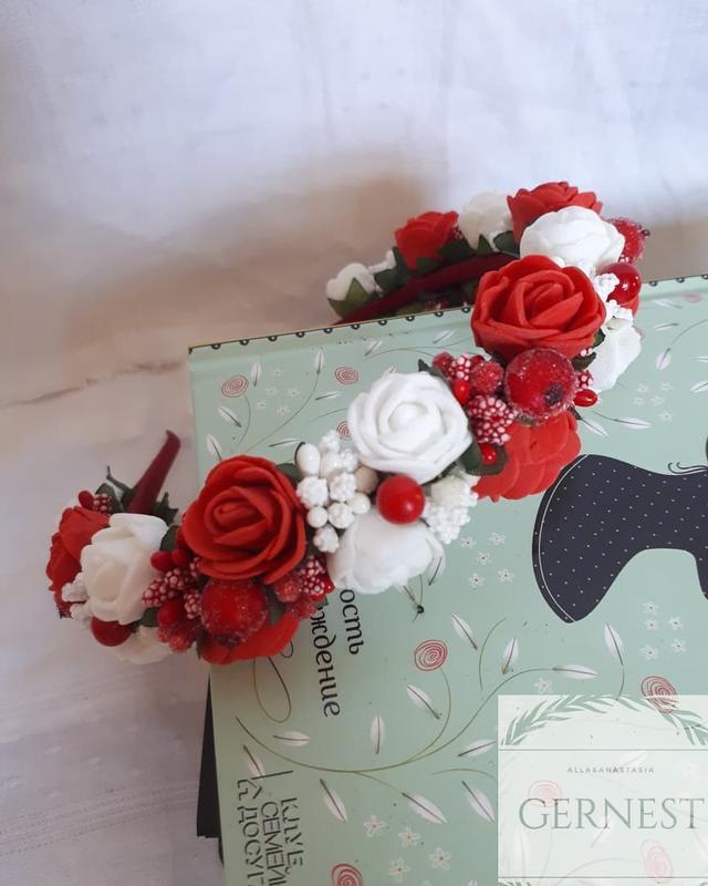 Обруч ободок веночек с цветами - Фото 2
