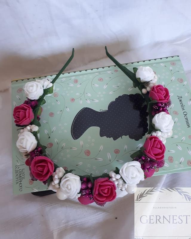 Обруч ободок веночек с цветами - Фото 3