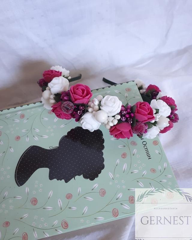 Обруч ободок веночек с цветами - Фото 4