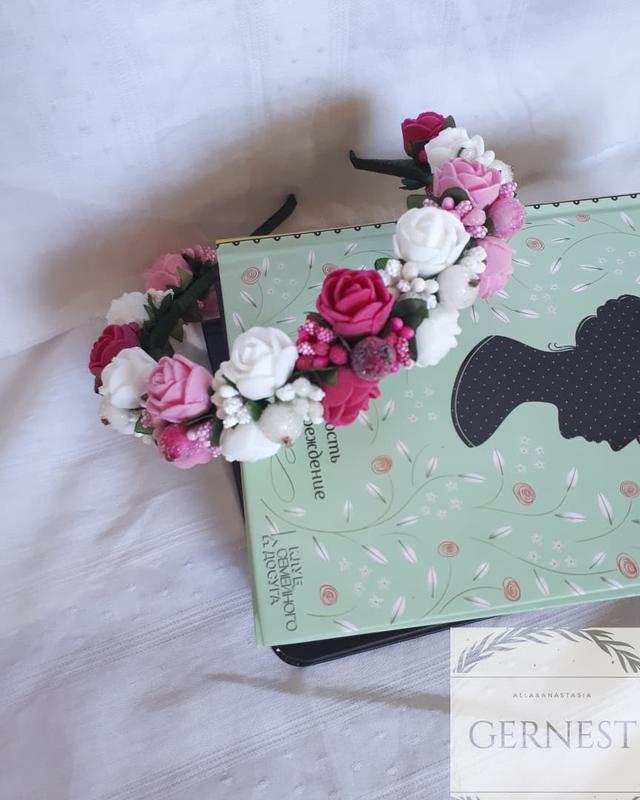 Обруч ободок веночек с цветами - Фото 5