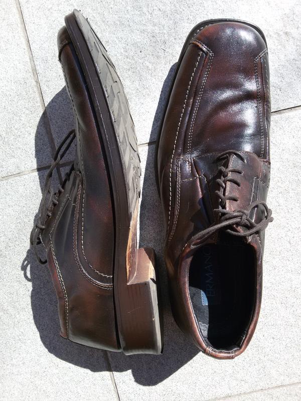Мужские стильные кожаные туфли ermano на широкую стопу - Фото 2