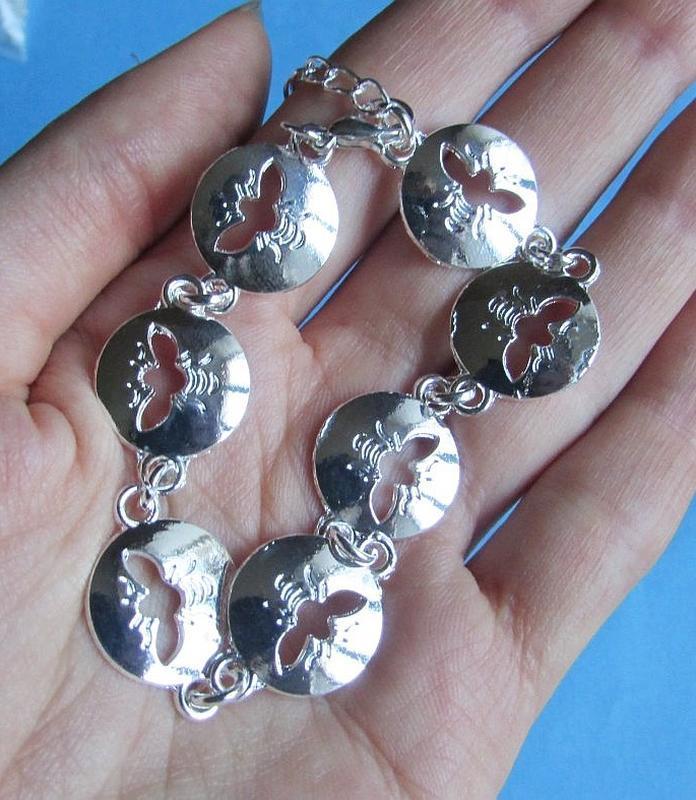 🏵стильный браслет с подвесками пчёлы в серебре, новый! арт.9962 - Фото 4