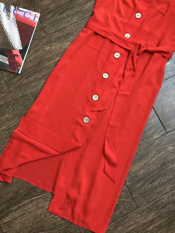 Очень красивое красное летнее платье большого размера - Фото 3