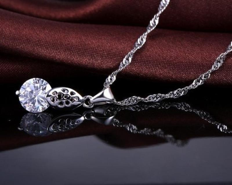Набор - подвеска на цепи и серьги в серебре 925 с фианитами, н... - Фото 2