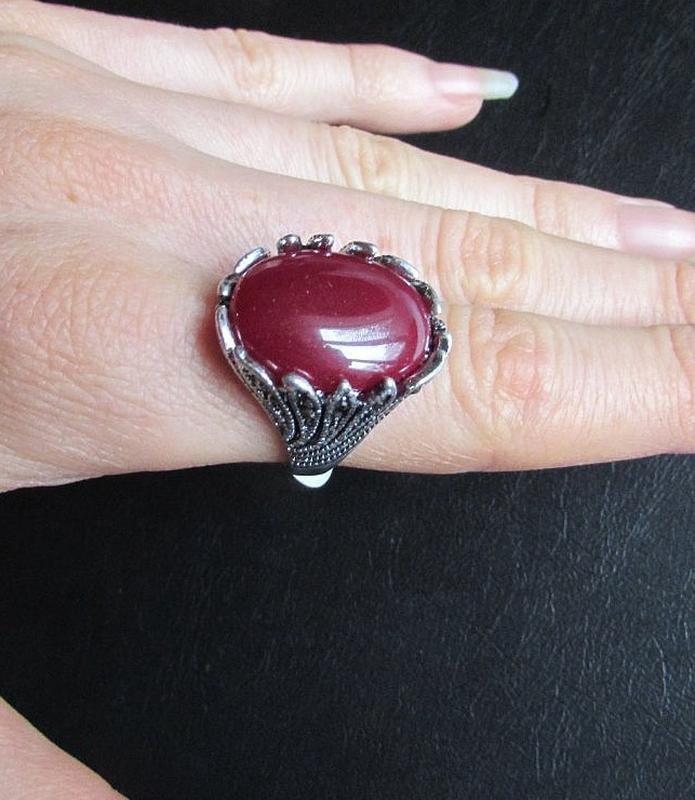 🏵️стильное кольцо с сердоликом, 18 р., новое! арт.8968 - Фото 4