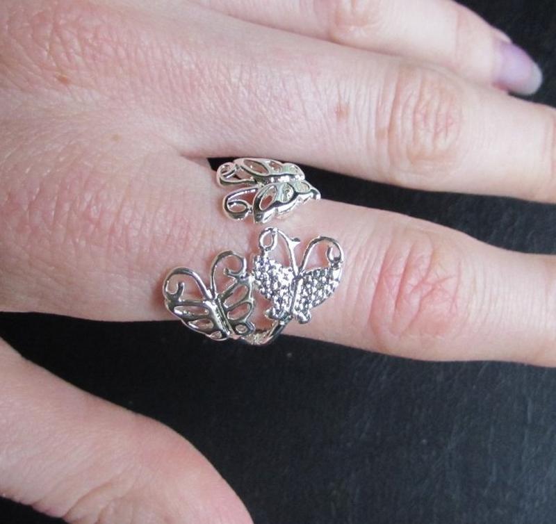 🏵кольцо в серебре 925 бабочки, безразмерное, новое! арт. 3419 - Фото 2