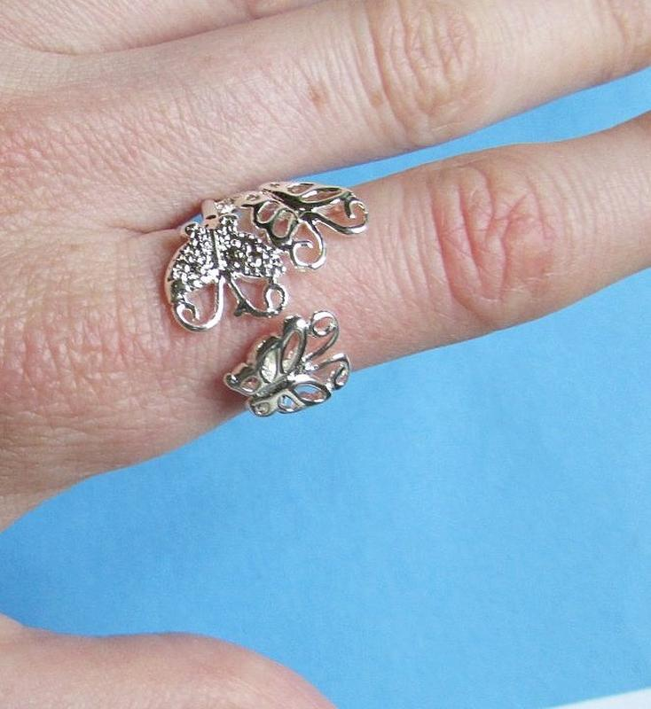 🏵кольцо в серебре 925 бабочки, безразмерное, новое! арт. 3419 - Фото 3
