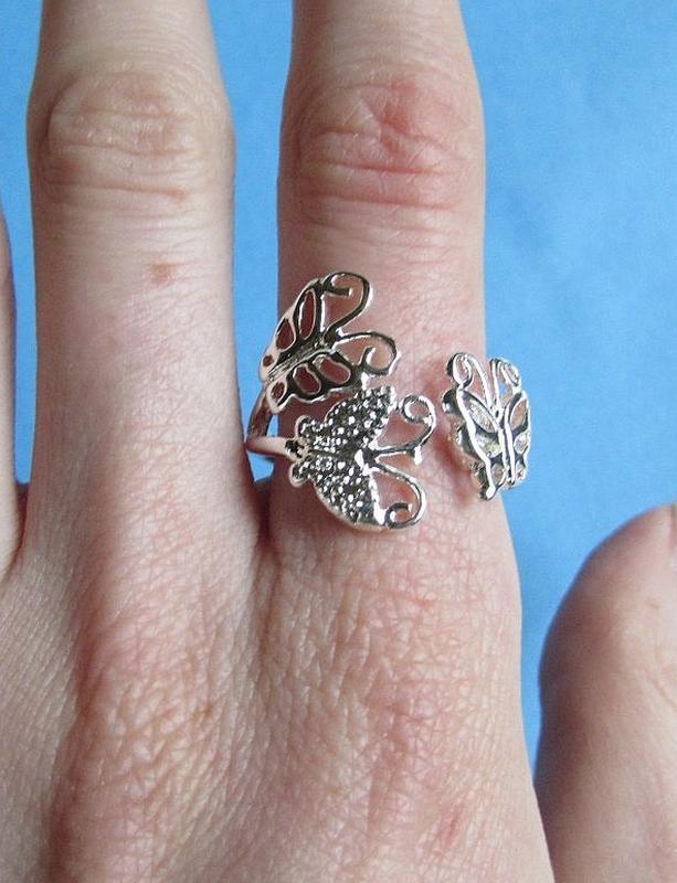 🏵кольцо в серебре 925 бабочки, безразмерное, новое! арт. 3419 - Фото 4