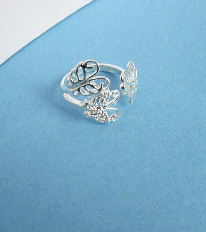 🏵кольцо в серебре 925 бабочки, безразмерное, новое! арт. 3419 - Фото 5