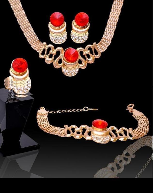 🏵набор бижутерии - колье, серьги, браслет и кольцо в кристалла...
