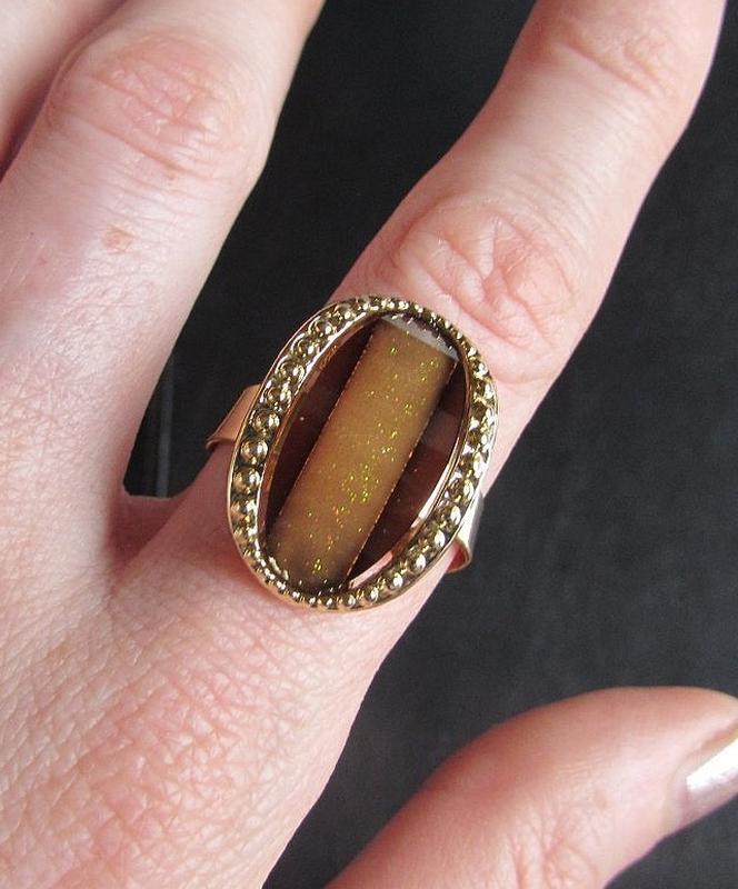 Красивое кольцо карамельное безразмерное, новое! арт. 2441 - Фото 2
