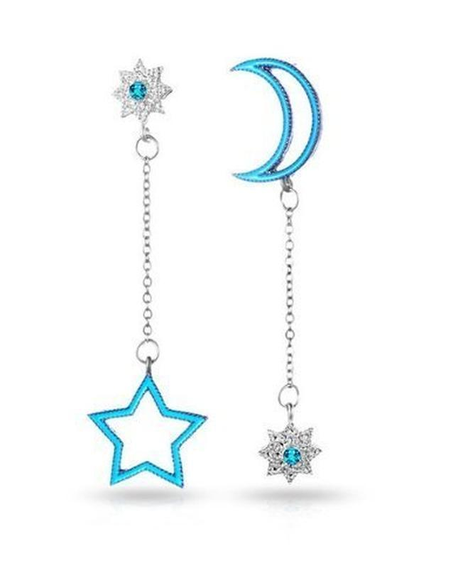 🏵модные разные серьнги звёзды и месяц, новые! арт. 2676