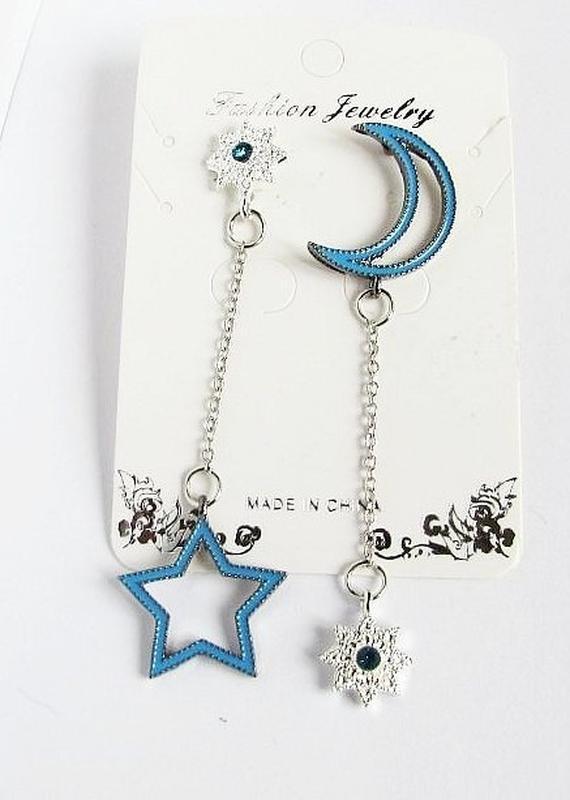 🏵модные разные серьнги звёзды и месяц, новые! арт. 2676 - Фото 4