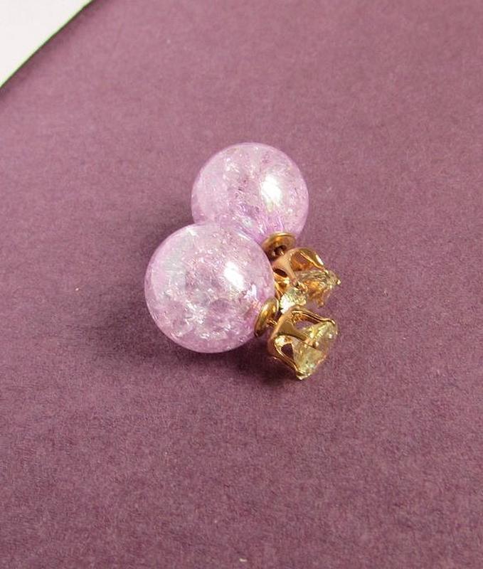🏵серьги шарики пусеты с кристаллами, новые! арт. 6118 - Фото 5