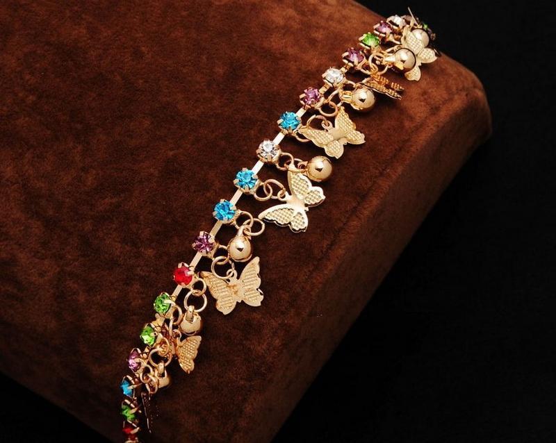 🏵️эффектный золочённый браслет бабочки, новый! арт. 8223