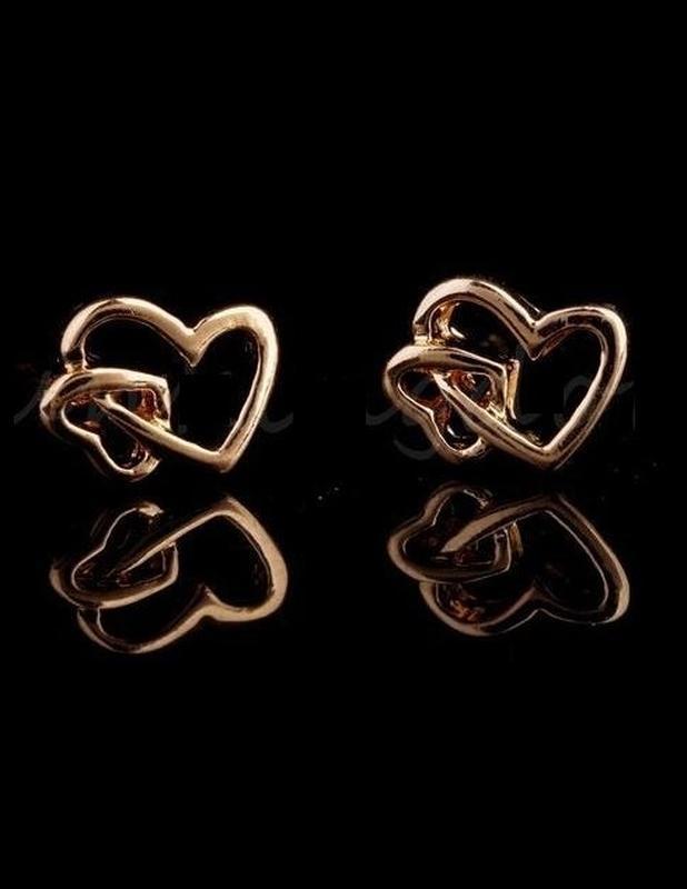 🏵позолоченные серьги стильные сердце, новые! арт. 3326 - Фото 2