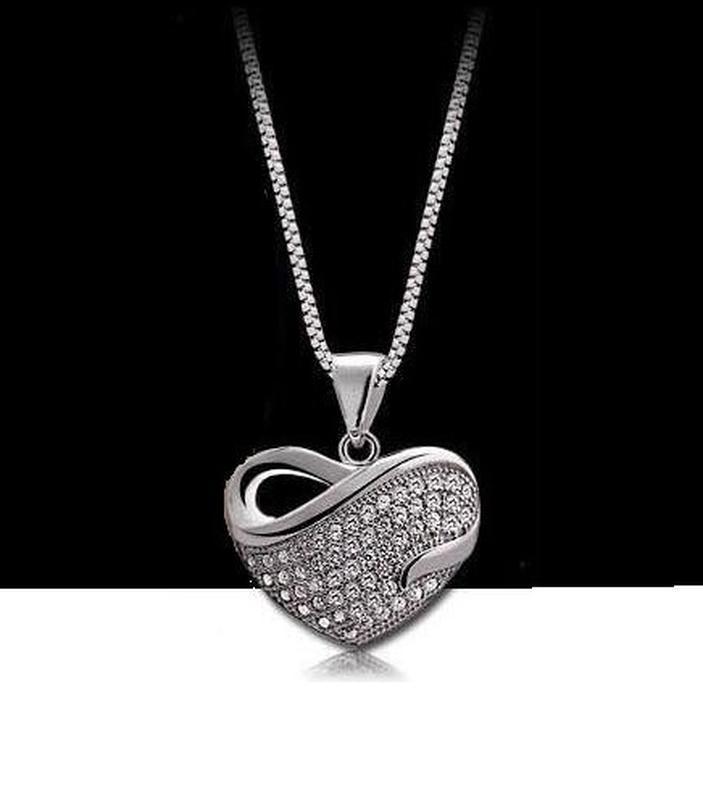 Ювелирный набор кулон на цепи и серьги сердце, новый! арт. 488... - Фото 5