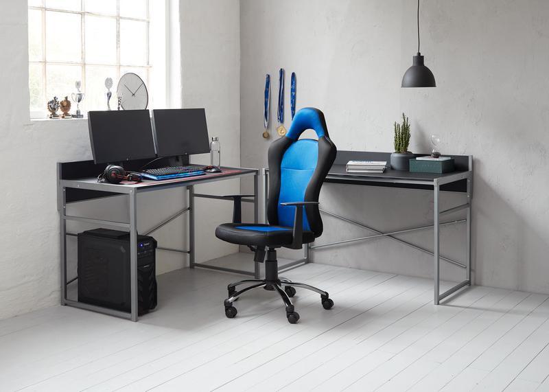 Крісло геймерське SNERTINGE чорний/синій - Фото 4