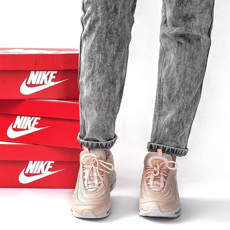 Nike air max 97 кожаные женские кроссовки найк розовый цвет (в... - Фото 3