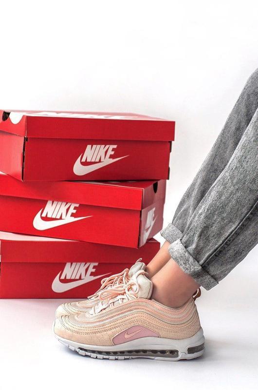 Nike air max 97 кожаные женские кроссовки найк розовый цвет (в... - Фото 4
