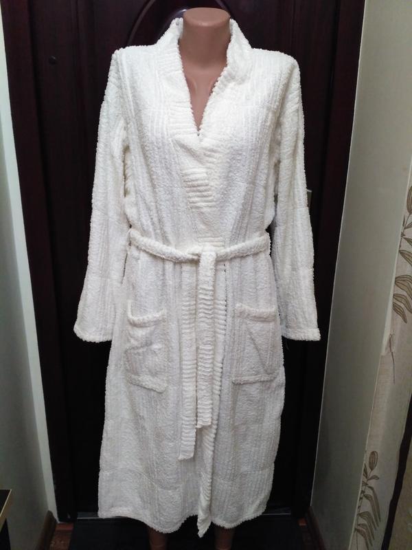 Белый махровый халат, 100% коттон
