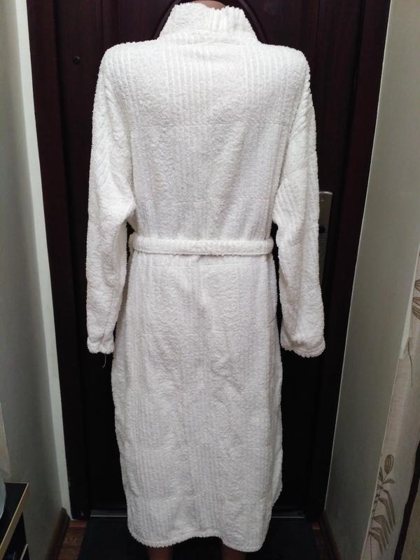 Белый махровый халат, 100% коттон - Фото 2