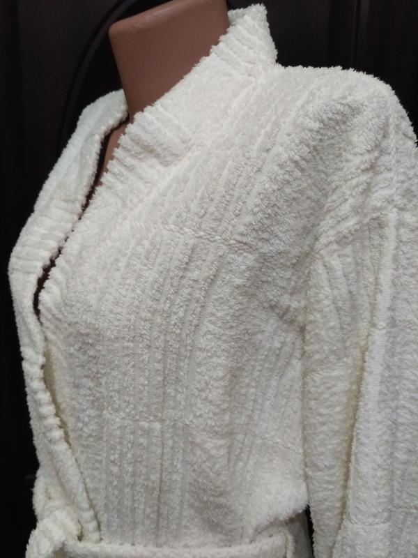 Белый махровый халат, 100% коттон - Фото 3