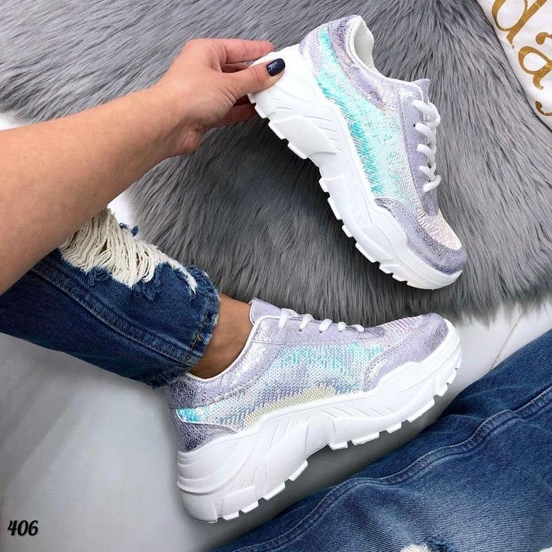 Яркие и блестящие кроссовки с пайетками - Фото 6