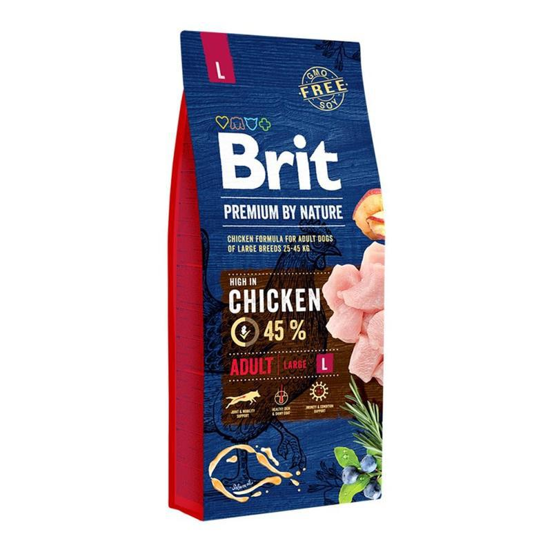 Корм для собак Brit Premium Adult L,15 кг  (25–45 кг)