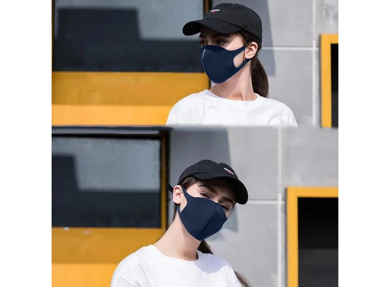 АКЦИЯ! Защитная трехслойная маска многоразовая темно-синяя - Фото 2